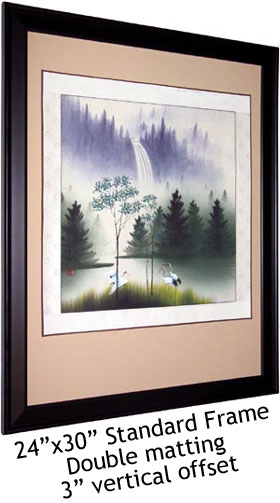 Framed Chinese Cranes Painting