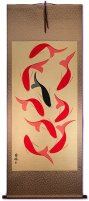 Large Nine Abstract Oriental Koi Fish Wall Scroll