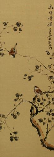 The Couple's Gaze - Chinese Bird and Flower Wall Scroll close up view