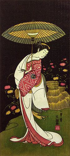 Actress Segawa Kikunojo - Japanese Woodblock Print Repro - Wall Scroll close up view