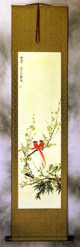 Double Longevity - Bird and Flower Wall Scroll